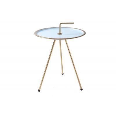 Háromlábú asztalka 42 cm, világoskék-arany - CIBLE